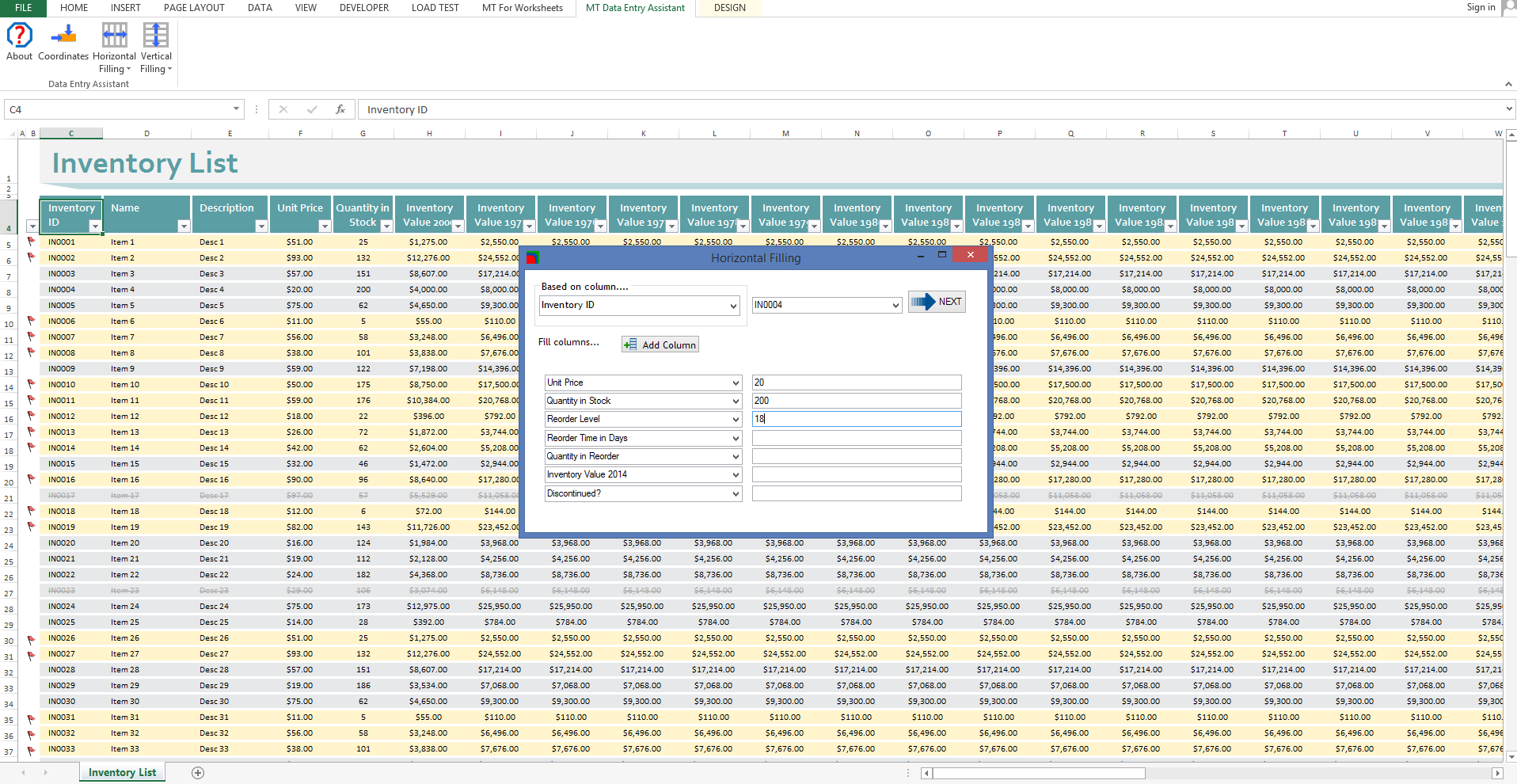 MT Data Entry Assistant, Excel Add-ins Software Screenshot
