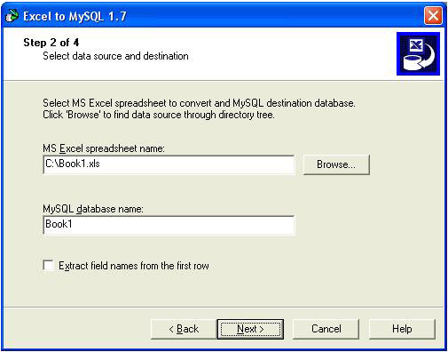 Excel-to-MySQL, Database Conversion Software Screenshot