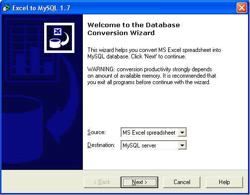 Excel-to-MySQL Screenshot