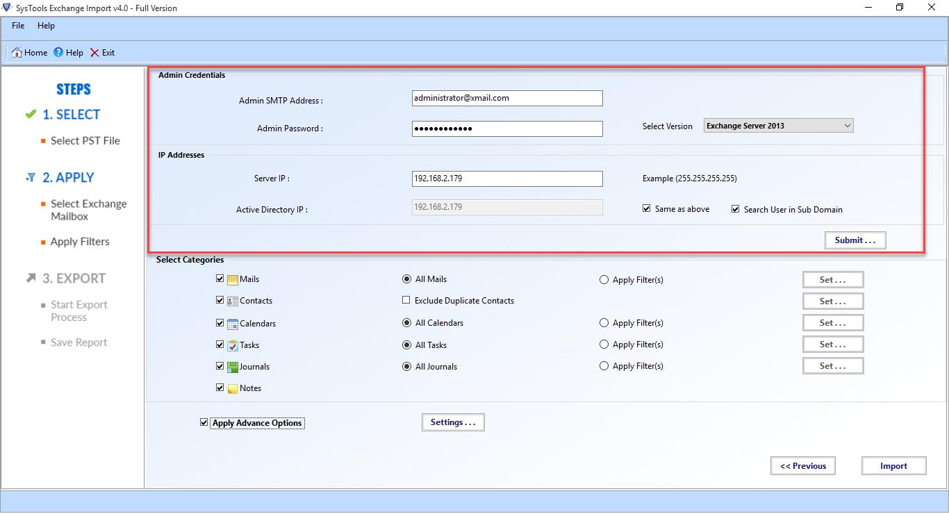 Exchange Import Screenshot
