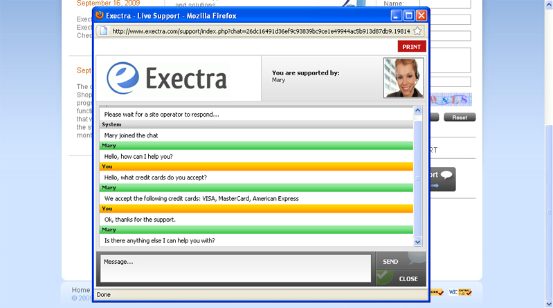 Exectra Live Support, Business Management Software Screenshot