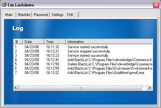 Security Software, Executable Lockdown Screenshot