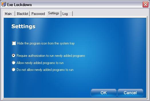 Activity Monitoring Software, Executable Lockdown Screenshot