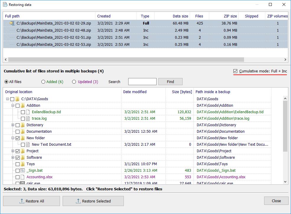 Exiland Backup Professional, Security Software, Backup and Restore Software Screenshot