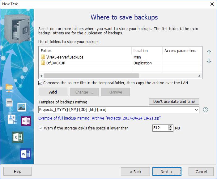 Exiland Backup Professional, Backup and Restore Software Screenshot