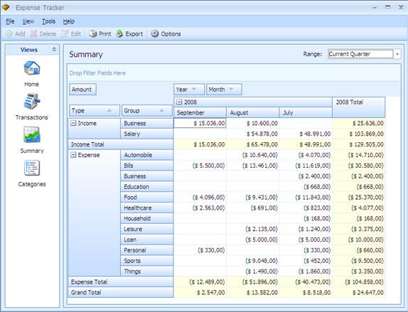 Expense Tracker, Business Management Software Screenshot