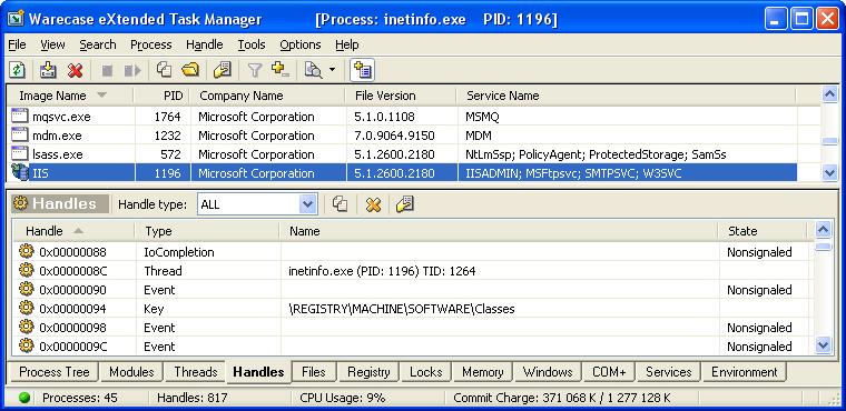 Desktop Customization Software, eXtended Task Manager Screenshot