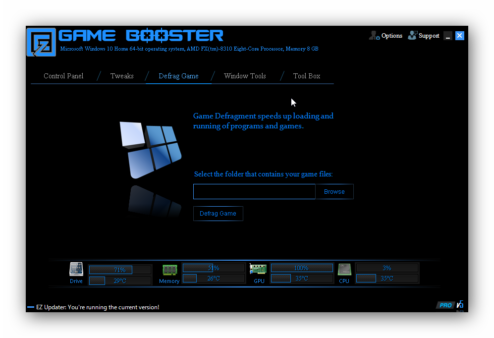 EZ Game Booster, PC Optimization Software Screenshot