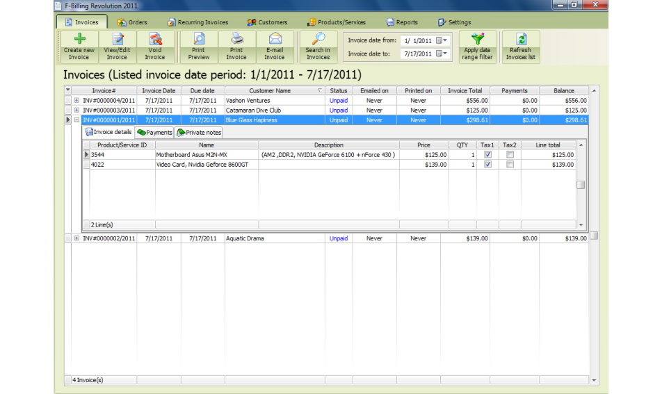 f-Billing Revolution 2012, Business & Finance Software Screenshot