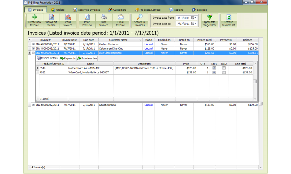 f-Billing Revolution 2012 Screenshot