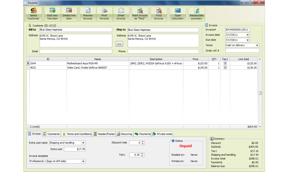 f-Billing Revolution 2012, Accounting Software Screenshot