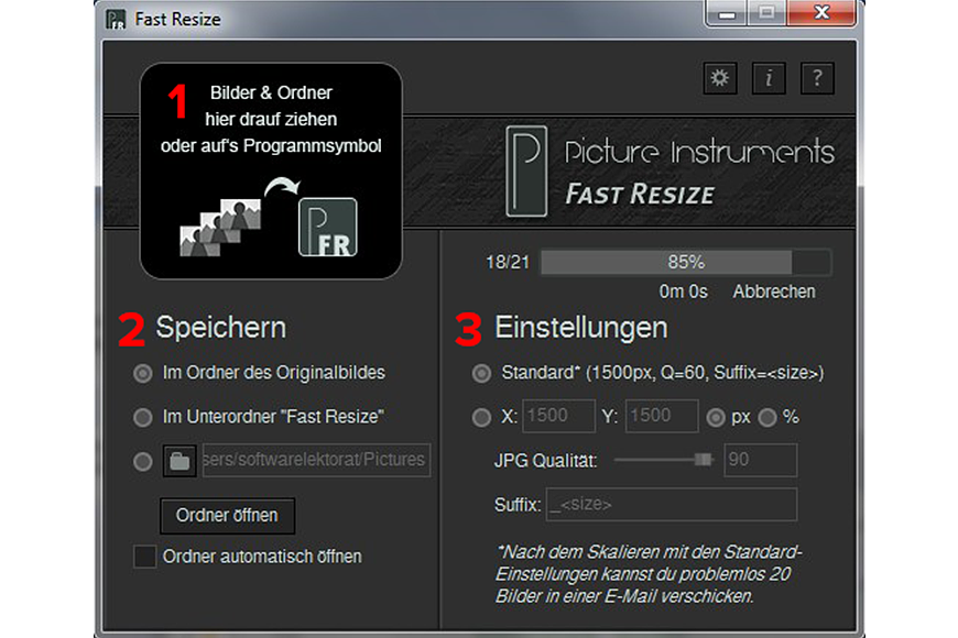 Fast Resize, Batch Image Software Screenshot