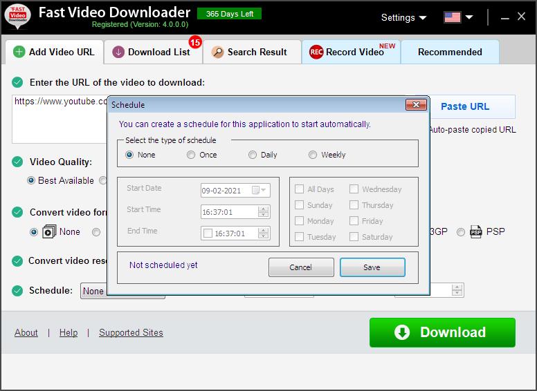 Fast Video Downloader, Internet Software, YouTube Downloader Software Screenshot