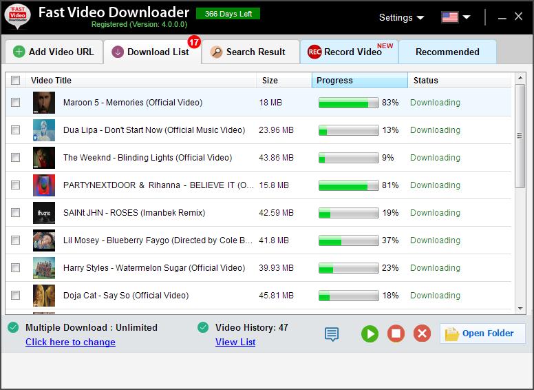 Fast Video Downloader, YouTube Downloader Software Screenshot
