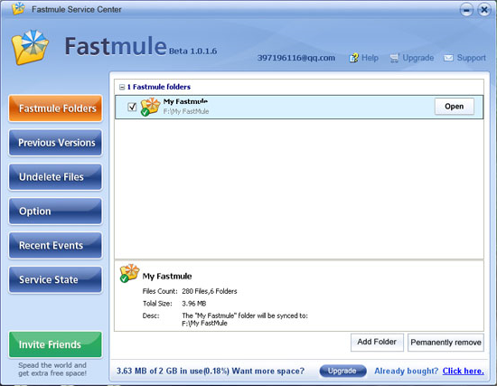 Fastmule Unlimited Online Backup Screenshot