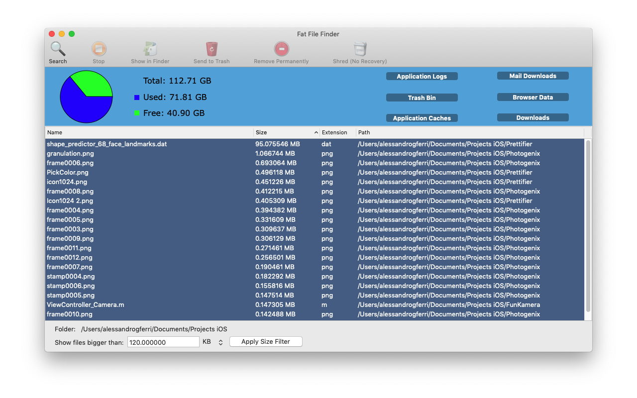 Files and Folders Software, Fat File Finder Screenshot