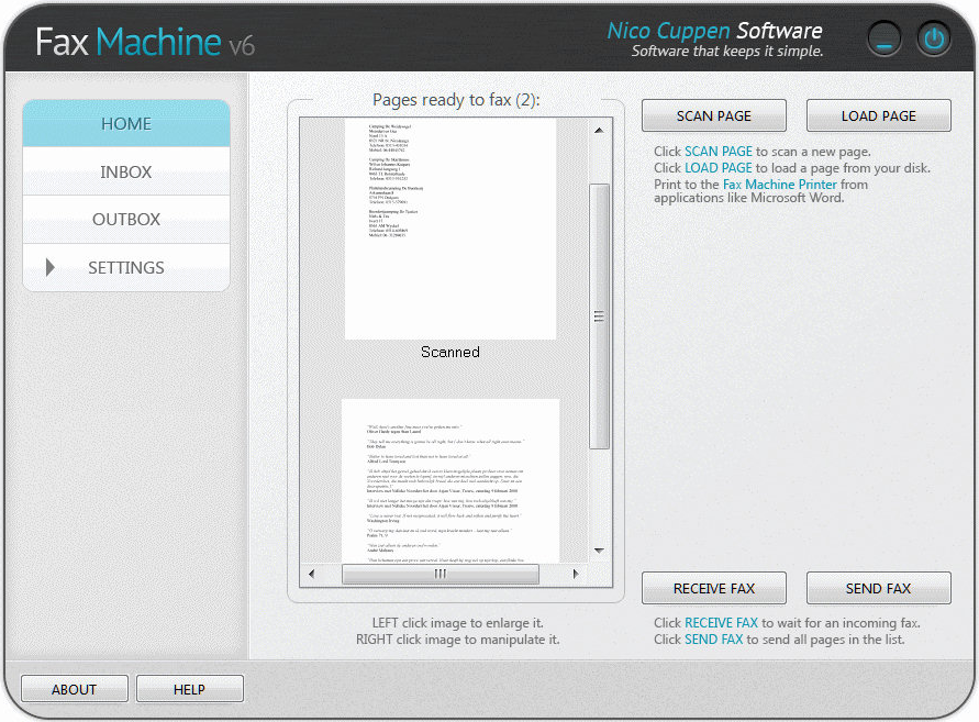 Business & Finance Software, Fax Machine Screenshot