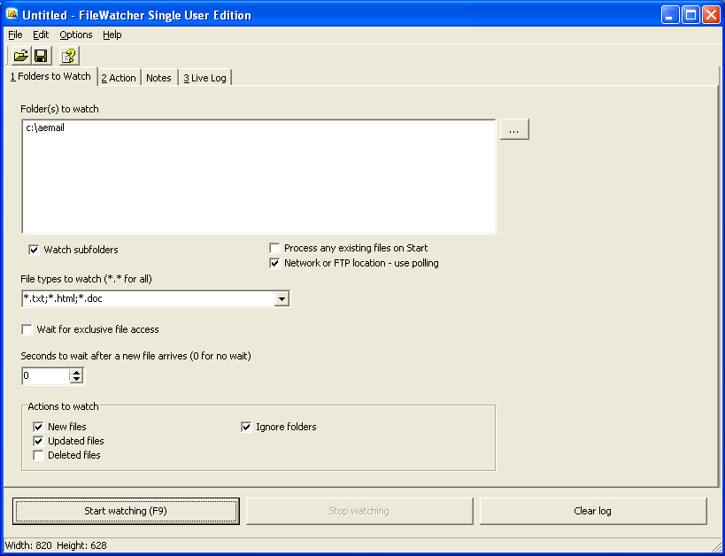 File and Folder Watcher Screenshot