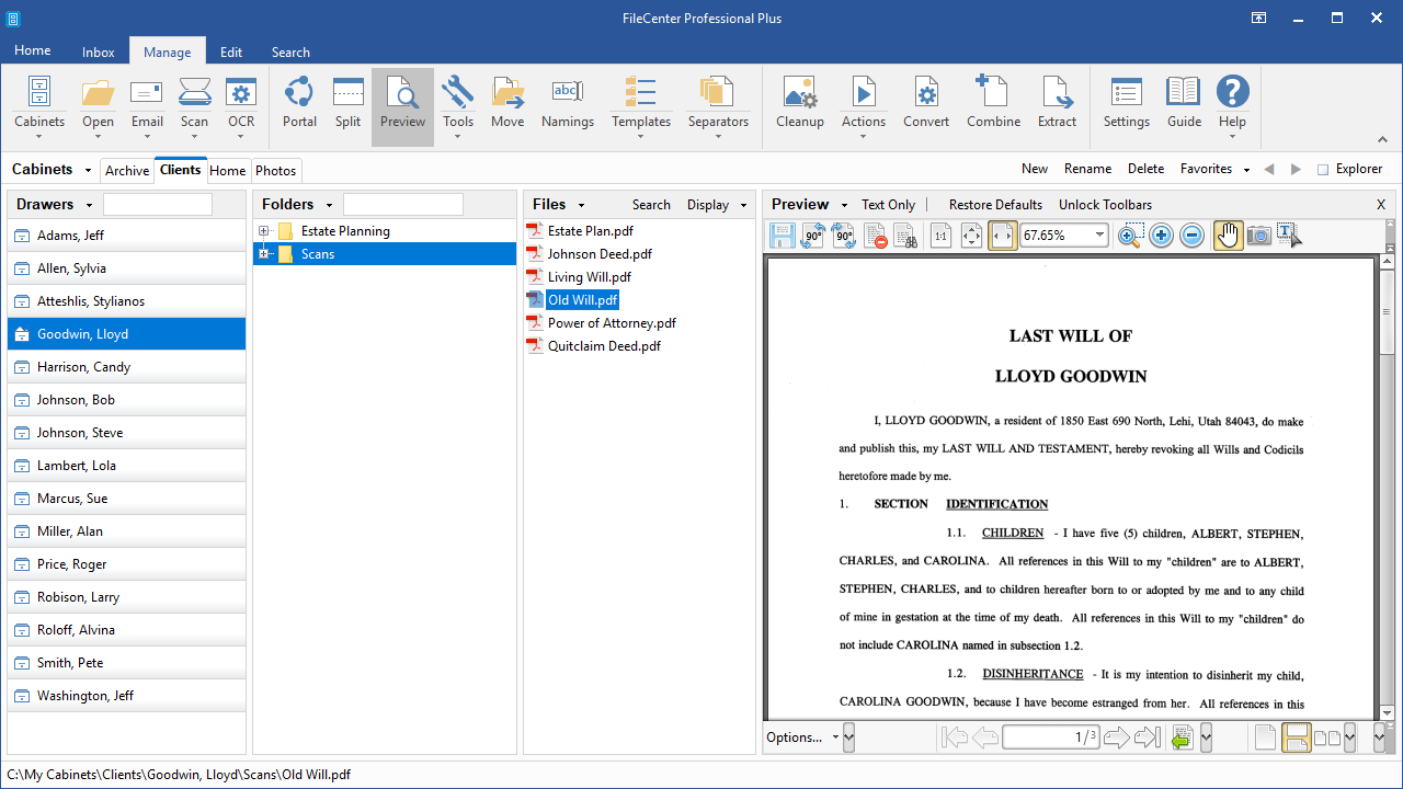 FileCenter, Document Management Software Screenshot