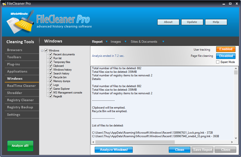 FileCleaner, Files and Folders Software Screenshot