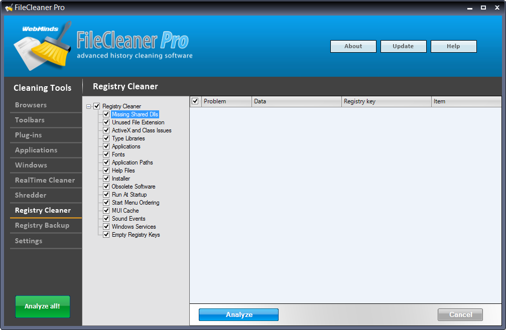 Software Utilities, FileCleaner Screenshot