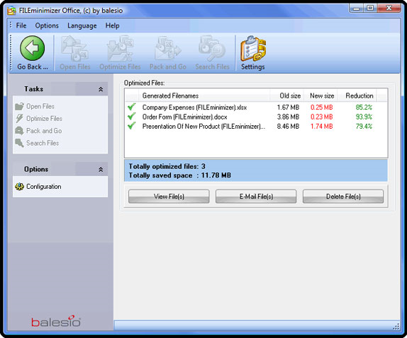 FILEminimizer Office, Software Utilities Screenshot