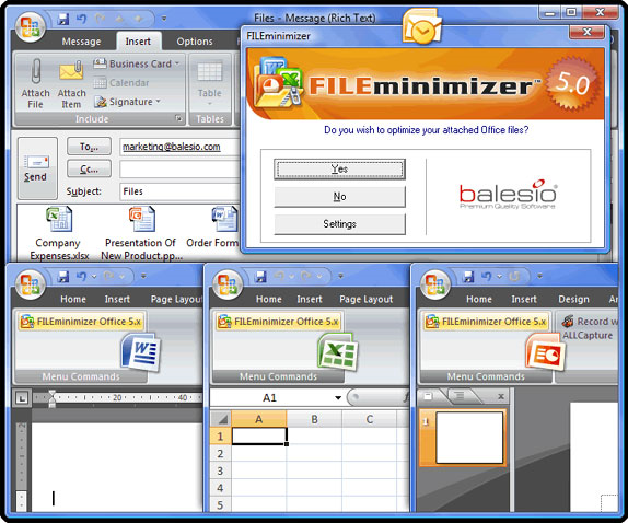 Compression and Extraction Software, FILEminimizer Office Screenshot