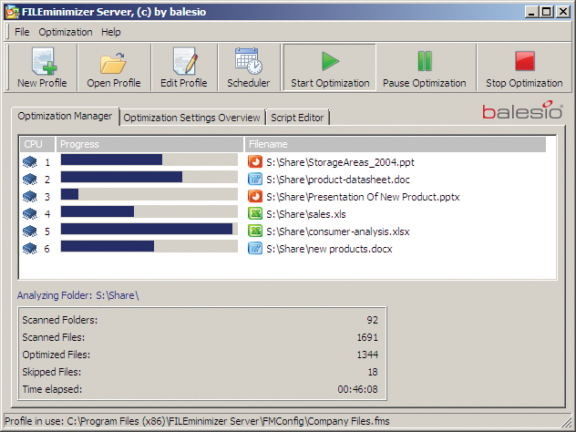 FILEminimizer Server - Zip-less file optimization for file servers Screenshot