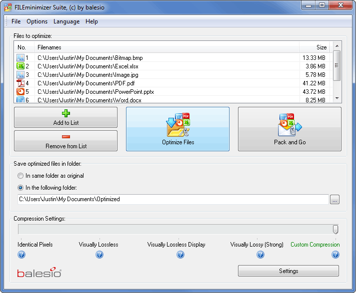 FILEminimizer Suite Screenshot