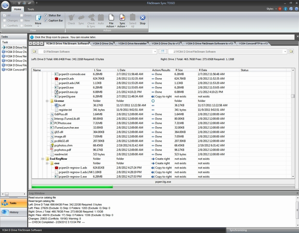 FileStream Sync TOGO, File Sync Software Screenshot