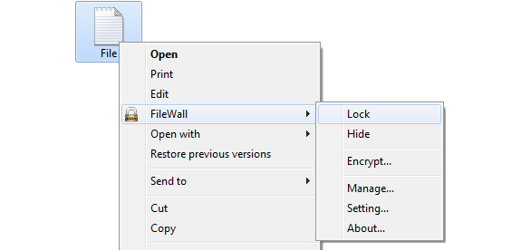 Encryption Software, FileWall Screenshot