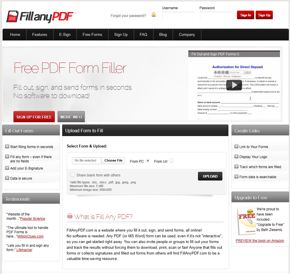 FillAnyPdf.com Screenshot