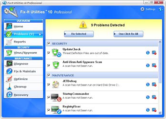 Fix-it Utilities Professional 10, PC Optimization Software Screenshot