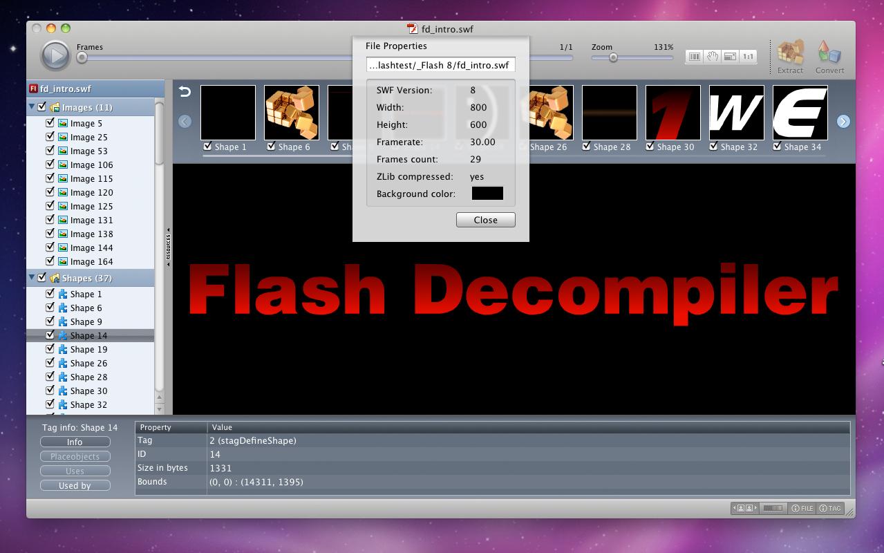Flash Software, Flash Decompiler Screenshot
