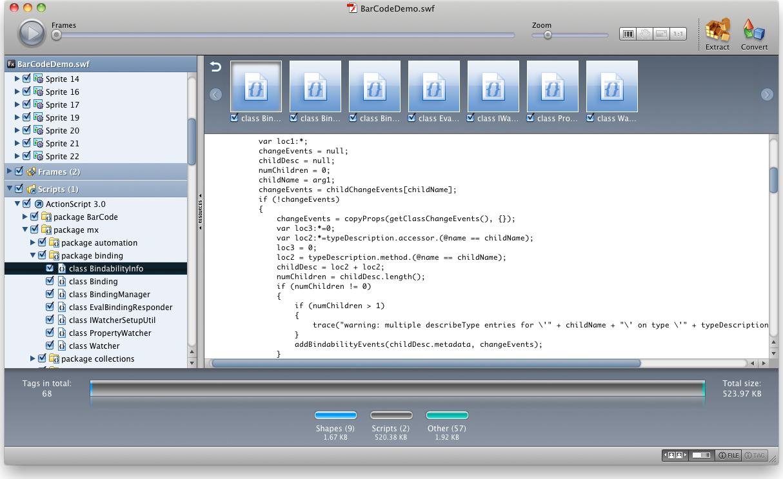 Flash Decompiler, Development Software Screenshot