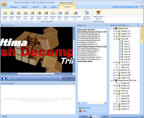 Flash Decompiler Trillix, Animation Software Screenshot