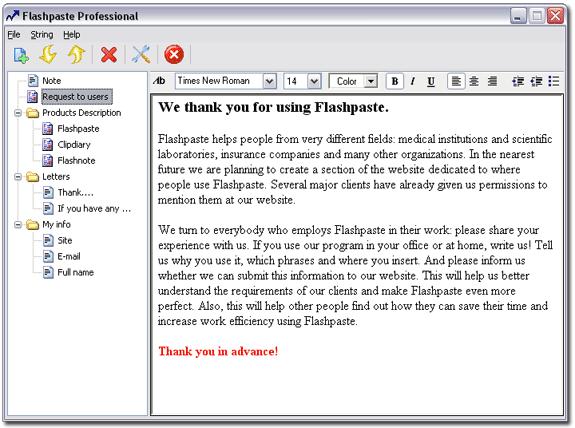 Flashpaste, Keyboard Software Screenshot
