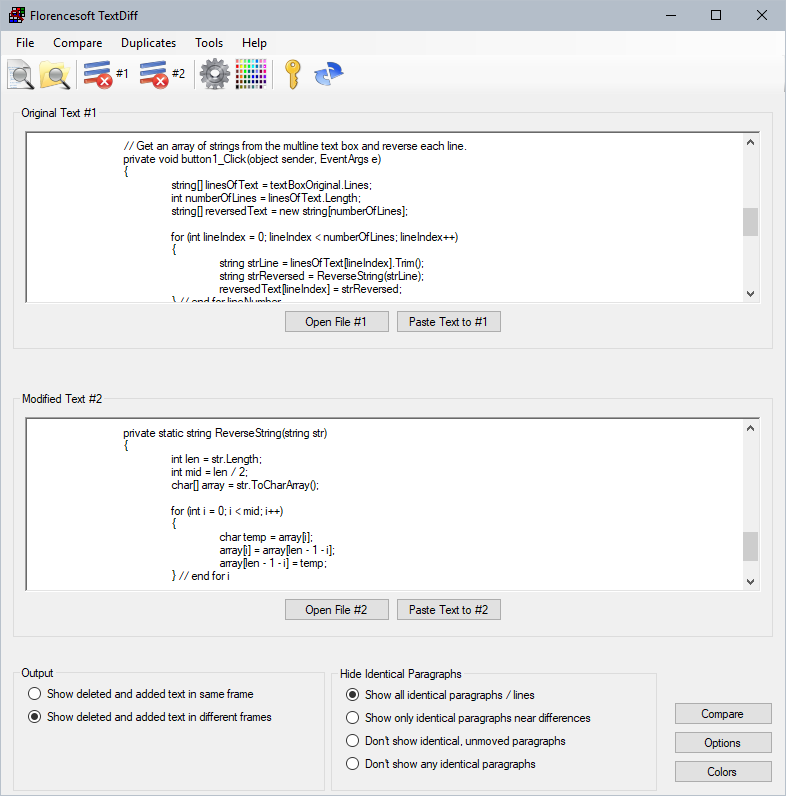 Productivity Software, Compare Text With Florencesoft TextDiff Screenshot
