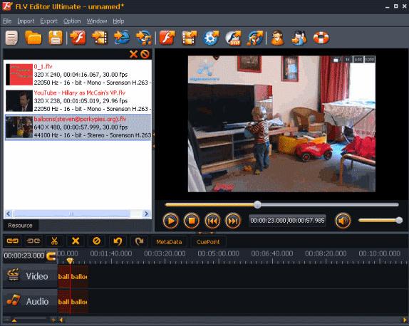 Video Editing Software, FLV Editor Ultimate Screenshot
