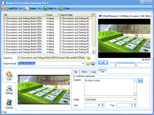 Video Converter Software, FLV to Video Converter Pro 2 Screenshot