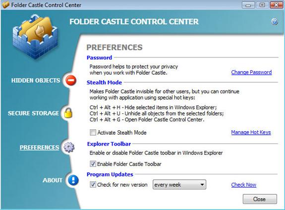 Folder Castle, Encryption Software Screenshot