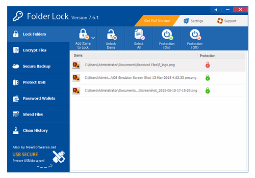 Folder Lock, Security Software Screenshot