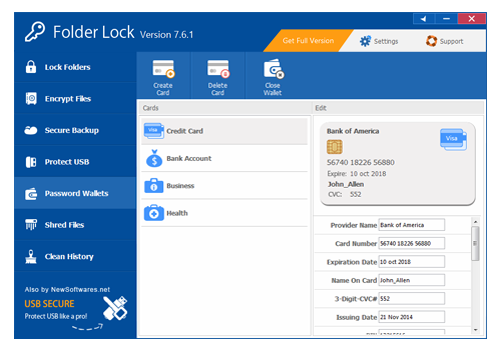 Encryption Software, Folder Lock Screenshot