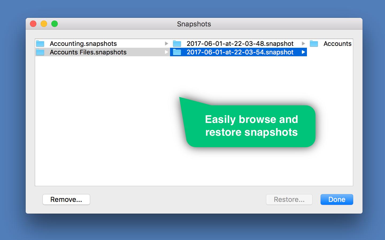 Backup and Restore Software, Folder Snapshot Utility Screenshot