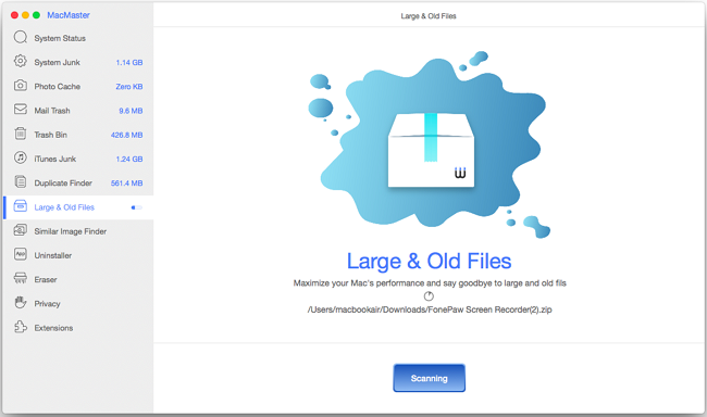 FonePaw MacMaster, File Management Software Screenshot