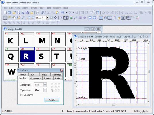 FontCreator Professional Edition Screenshot