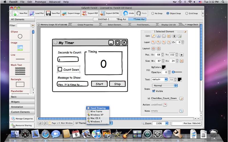 ForeUI GUI Prototyping Tool, Development Software Screenshot