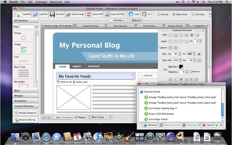 ForeUI GUI Prototyping Tool, Development Tools Software Screenshot