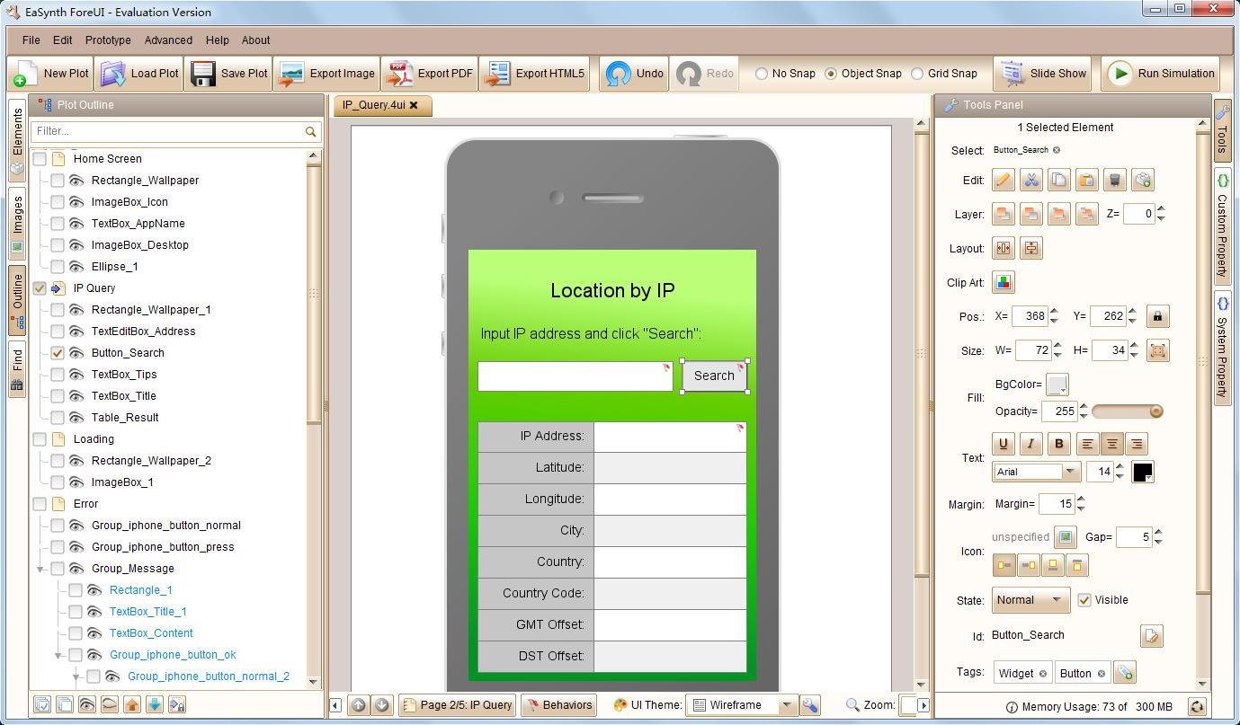 Development Software, ForeUI GUI Prototyping Tool Screenshot