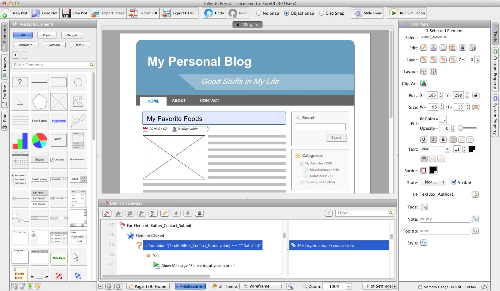 ForeUI GUI Prototyping Tool Screenshot